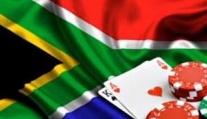 The South Africa flag with the perfect blackjack hand and chips