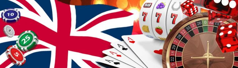 The Union Jack with cards, slots, dice and roulette wheel